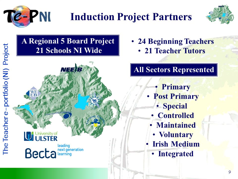 The Teacher e–portfolio (NI) Project 9 A Regional 5 Board Project 21 Schools NI Wide 24 Beginning Teachers 21 Teacher Tutors All Sectors Represented Primary Post Primary Special Controlled Maintained Voluntary Irish Medium Integrated Induction Project Partners