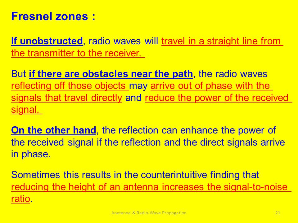 Anetenna & Radio-Wave Propogation21 Fresnel zones : If unobstructed, radio waves will travel in a straight line from the transmitter to the receiver.