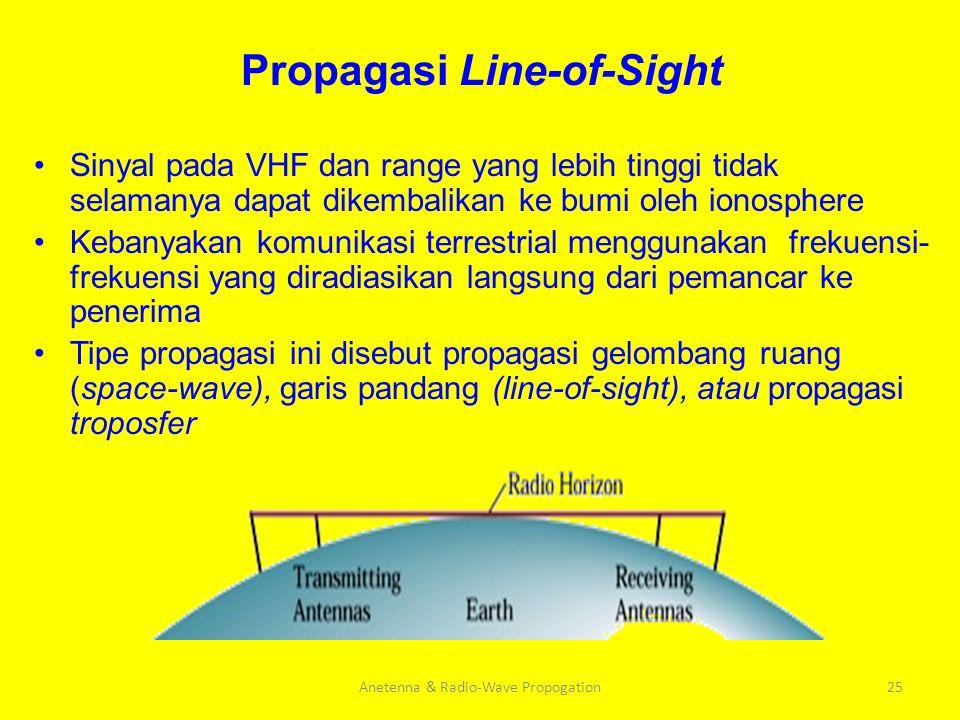 Propagasi Line-of-Sight Sinyal pada VHF dan range yang lebih tinggi tidak selamanya dapat dikembalikan ke bumi oleh ionosphere Kebanyakan komunikasi t