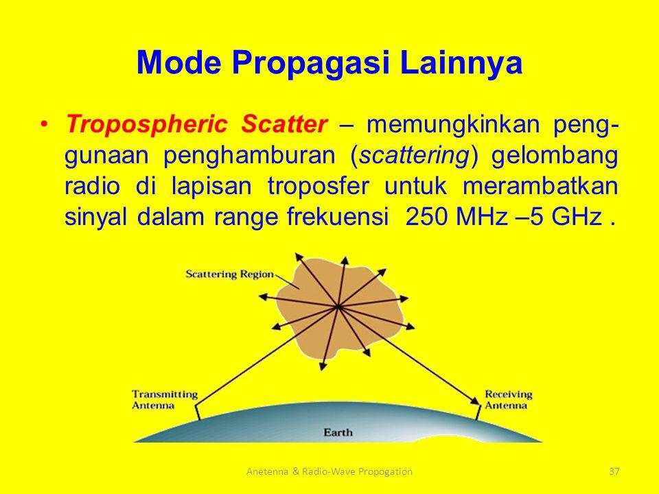 Mode Propagasi Lainnya Tropospheric Scatter – memungkinkan peng- gunaan penghamburan (scattering) gelombang radio di lapisan troposfer untuk merambatk