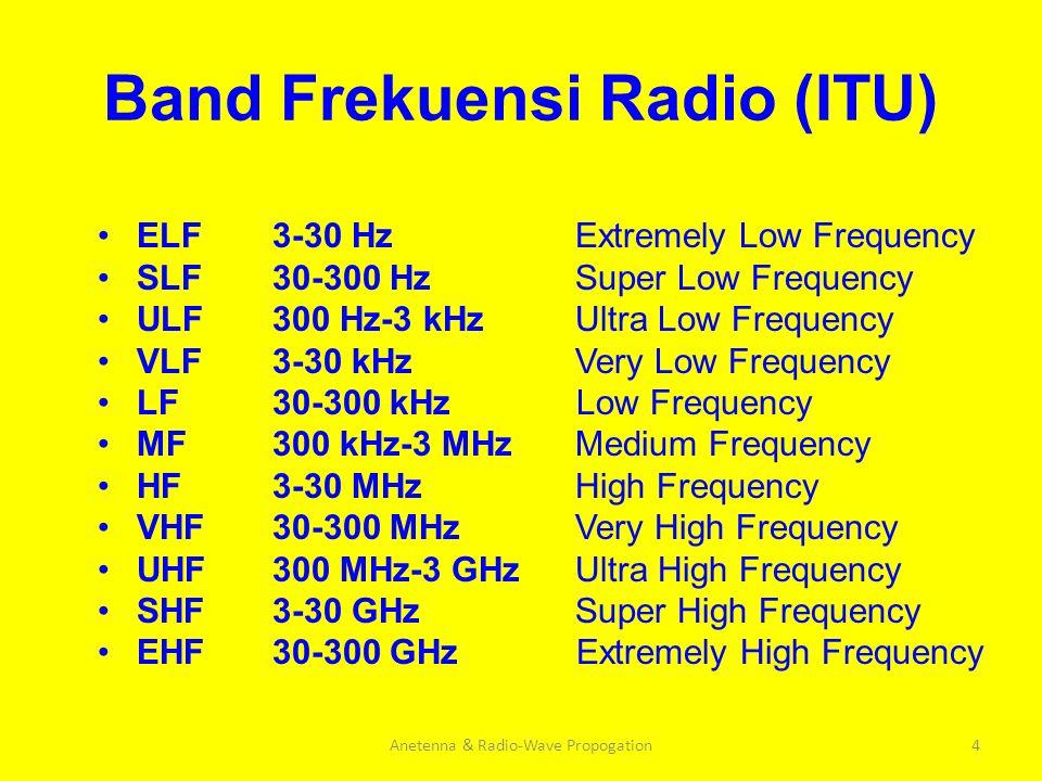 Band Frekuensi Radio (ITU) ELF SLF ULF VLF LF MF HF VHF UHF SHF EHF Anetenna & Radio-Wave Propogation4 3-30 Hz Extremely Low Frequency 30-300 Hz Super