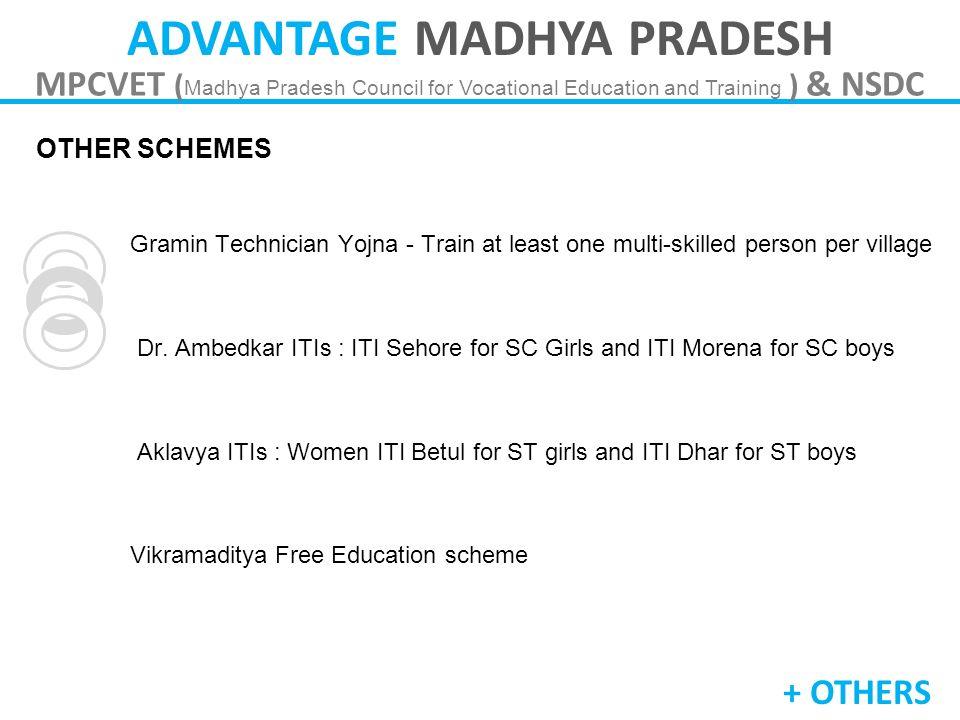 ADVANTAGE MADHYA PRADESH MPCVET ( Madhya Pradesh Council for Vocational Education and Training ) & NSDC OTHER SCHEMES Schemes Gramin Technician Yojna
