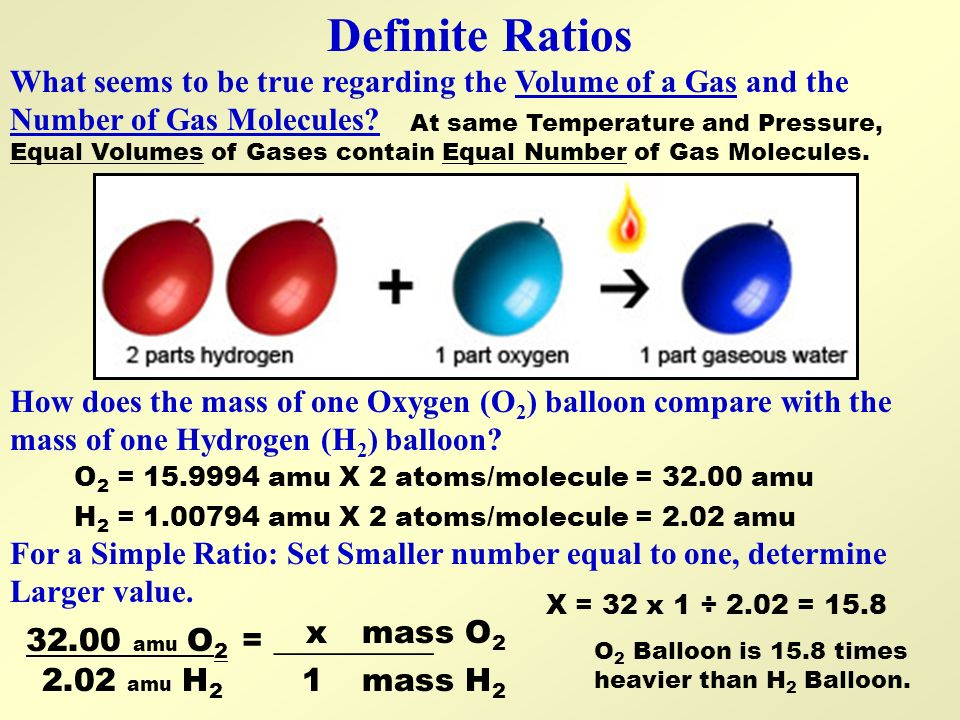 Definite Ratios How does the mass of one Oxygen (O 2 ) balloon compare with the mass of one Hydrogen (H 2 ) balloon? What seems to be true regarding t