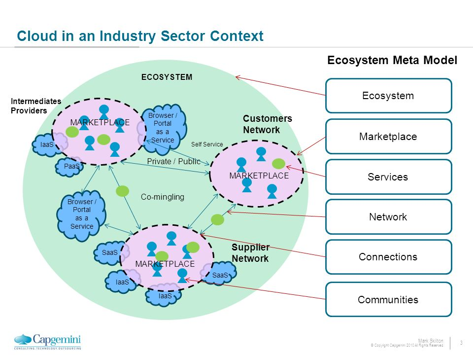 3 Mark Skilton © Copyright Capgemini 2010 All Rights Reserved Cloud in an Industry Sector Context IaaS Customers Network Intermediates Providers Supplier Network Co-mingling Browser / Portal as a Service PaaS SaaS Self Service Browser / Portal as a Service Private / Public MARKETPLACE Network Connections Services Communities Ecosystem Marketplace Ecosystem Meta Model ECOSYSTEM