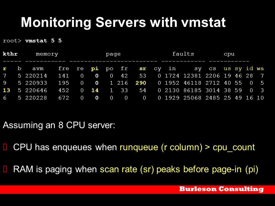 Monitoring Servers with vmstat root> vmstat 5 5 kthr memory page faults cpu ----- ----------- ------------------------ ------------ ----------- r b av