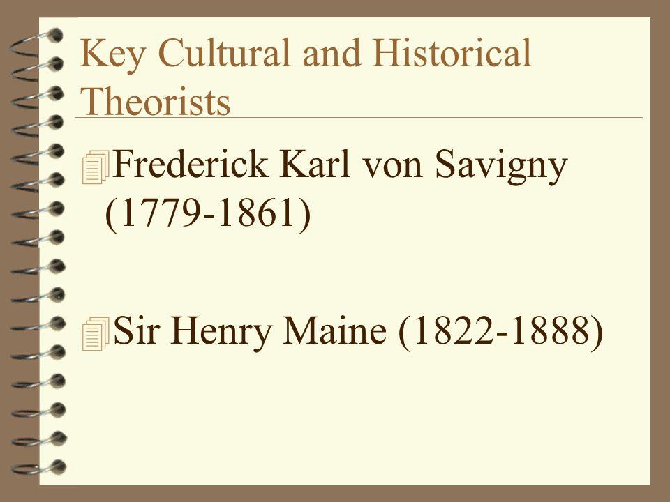 Key Cultural and Historical Theorists 4 Frederick Karl von Savigny (1779-1861) 4 Sir Henry Maine (1822-1888)