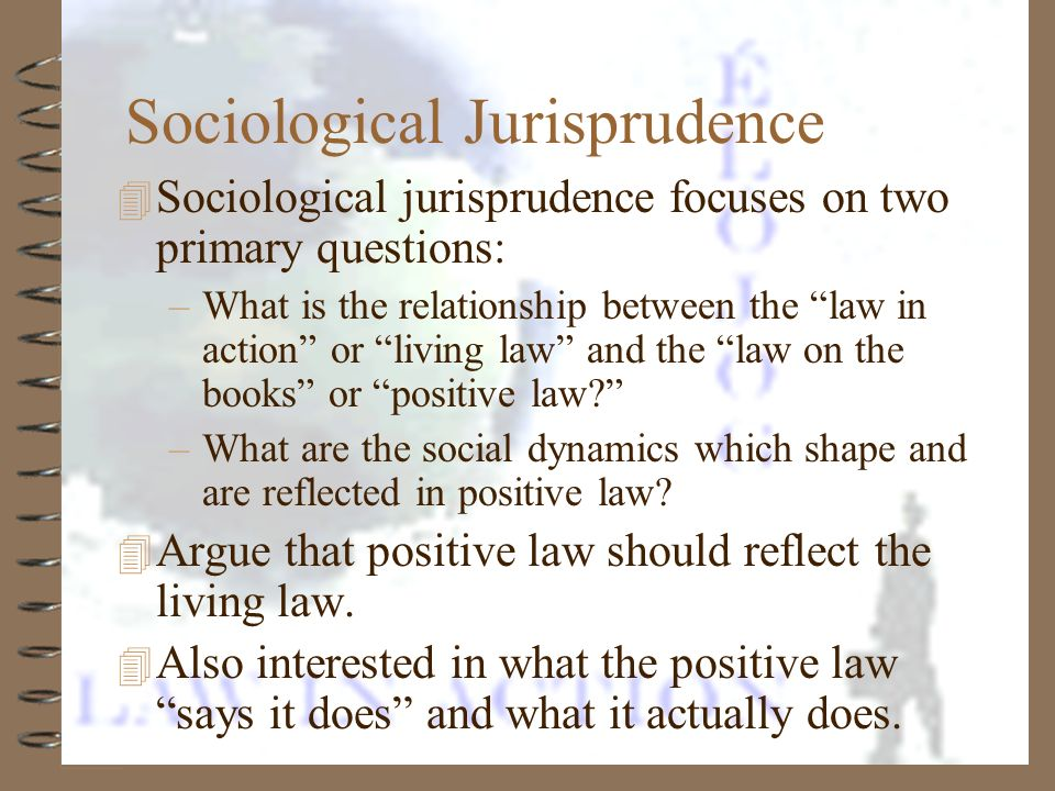 4 Sociological jurisprudence focuses on two primary questions: –What is the relationship between the law in action or living law and the law on the bo
