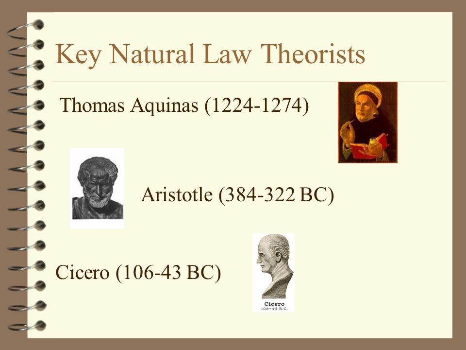 Key Natural Law Theorists Aristotle (384-322 BC) Cicero (106-43 BC) Thomas Aquinas (1224-1274)