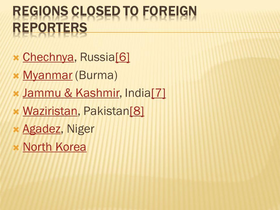 Chechnya, Russia[6] Chechnya[6] Myanmar (Burma) Myanmar Jammu & Kashmir, India[7] Jammu & Kashmir[7] Waziristan, Pakistan[8] Waziristan[8] Agadez, Niger Agadez North Korea