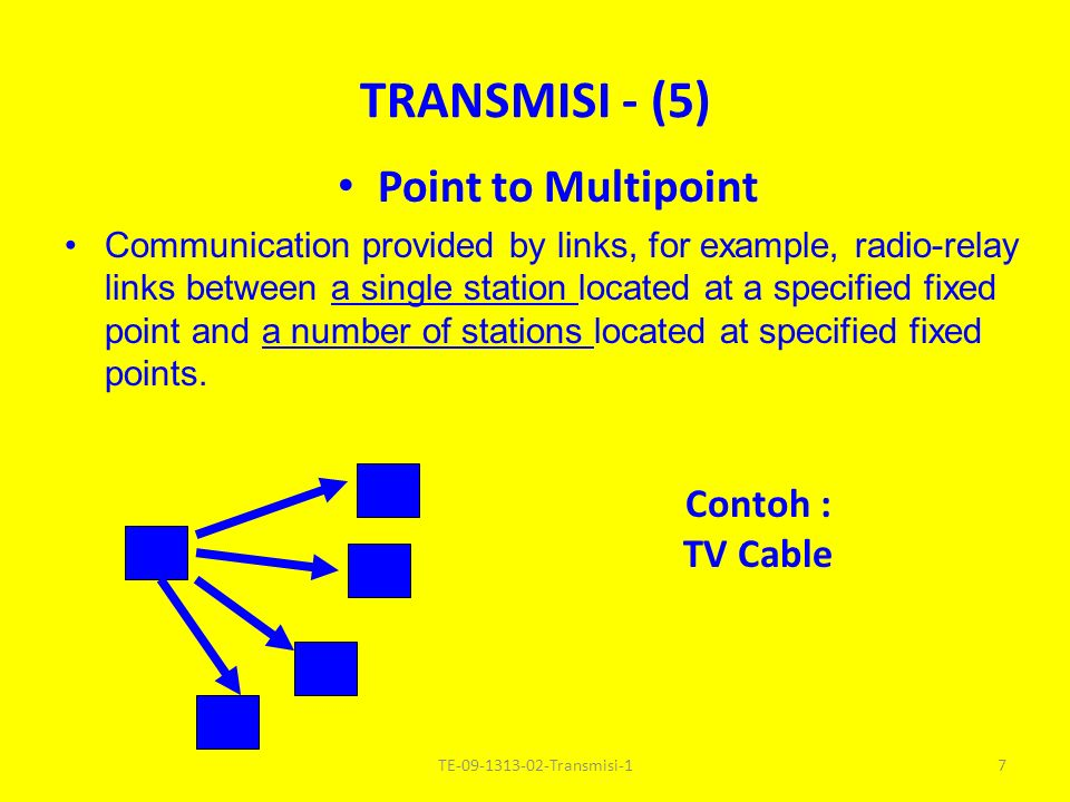 Point to Multipoint Communication provided by links, for example, radio-relay links between a single station located at a specified fixed point and a