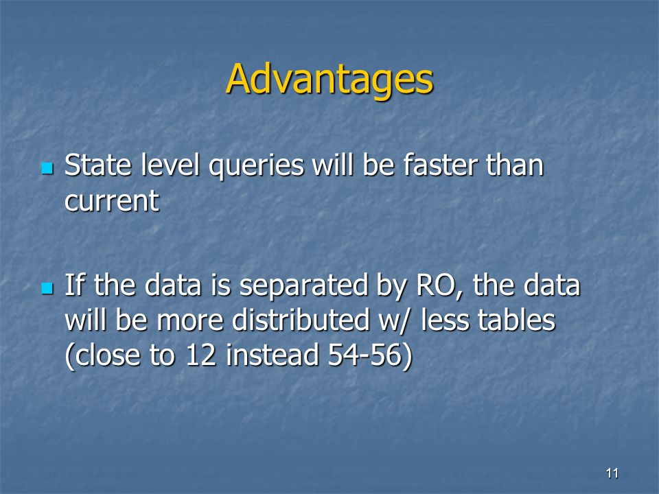 11 Advantages State level queries will be faster than current State level queries will be faster than current If the data is separated by RO, the data will be more distributed w/ less tables (close to 12 instead 54-56) If the data is separated by RO, the data will be more distributed w/ less tables (close to 12 instead 54-56)