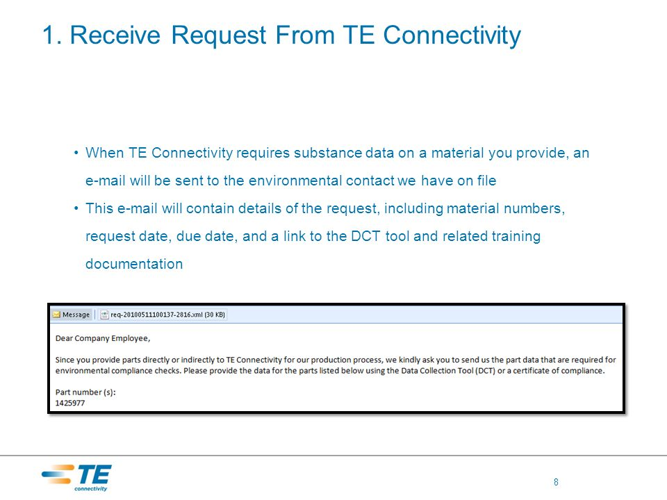 1. Receive Request From TE Connectivity When TE Connectivity requires substance data on a material you provide, an e-mail will be sent to the environm
