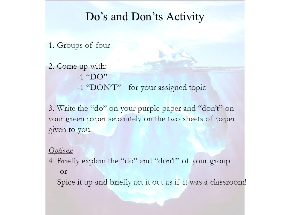 1. Groups of four 2. Come up with: -1 DO -1 DONT for your assigned topic 3.