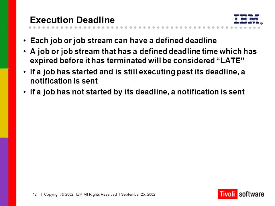 12   Copyright © 2002, IBM All Rights Reserved   September 25, 2002 Execution Deadline Each job or job stream can have a defined deadline A job or job