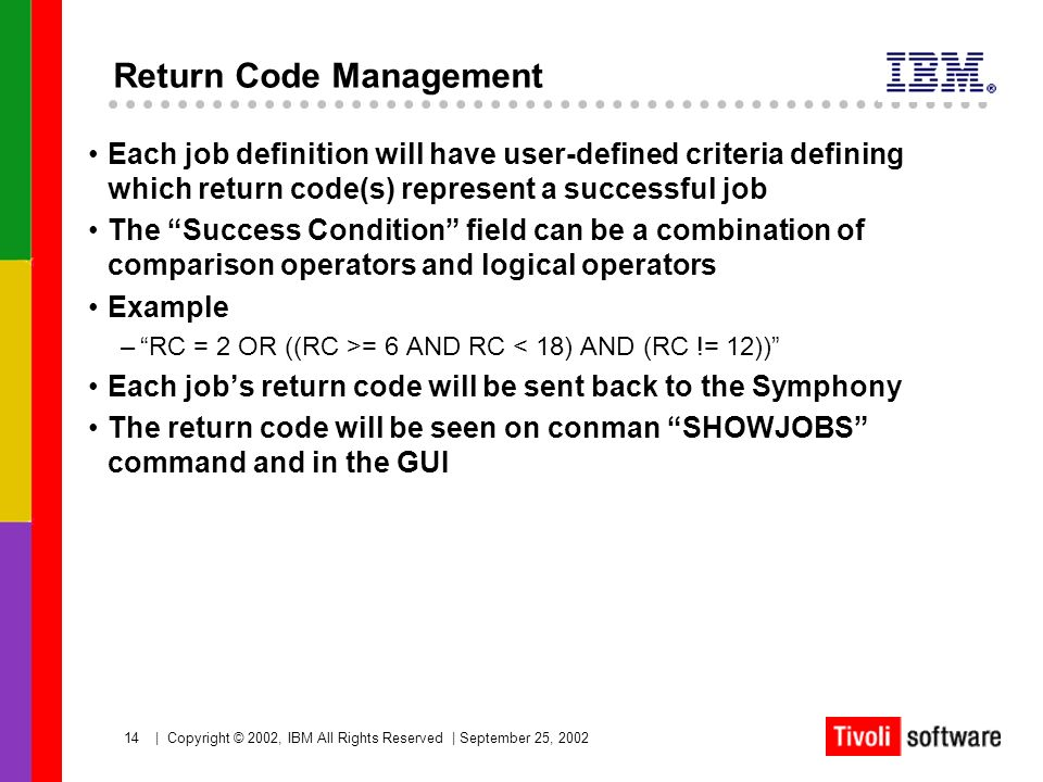 14   Copyright © 2002, IBM All Rights Reserved   September 25, 2002 Return Code Management Each job definition will have user-defined criteria definin
