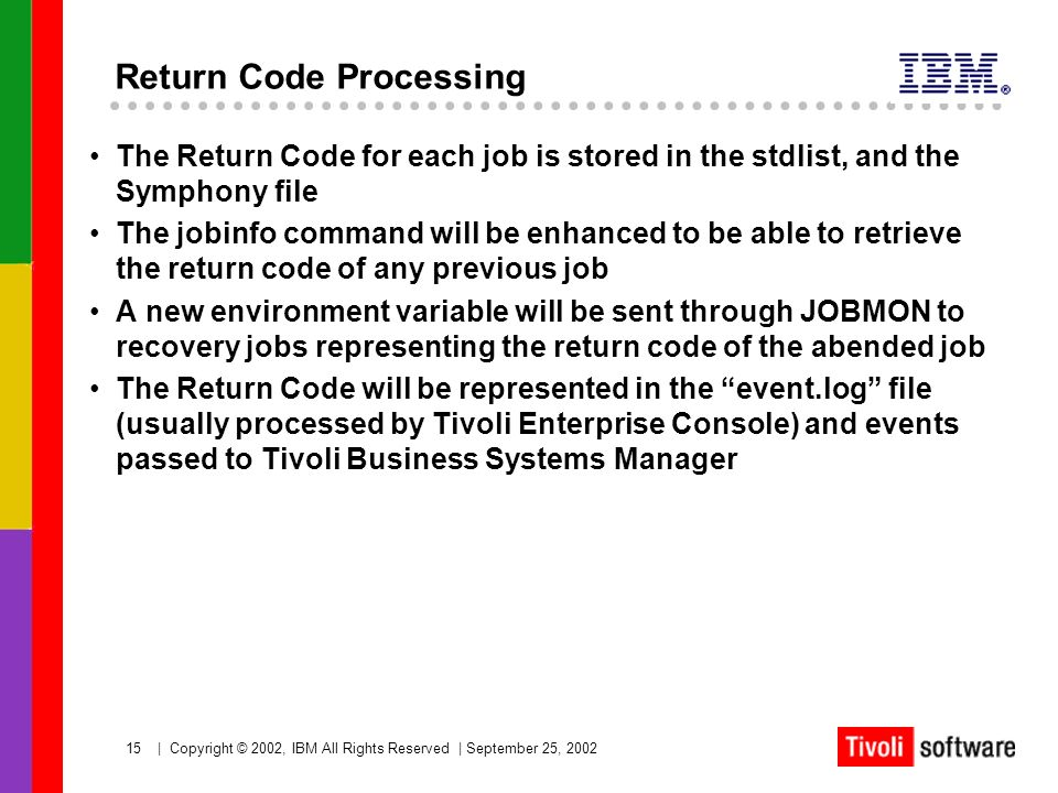 15   Copyright © 2002, IBM All Rights Reserved   September 25, 2002 Return Code Processing The Return Code for each job is stored in the stdlist, and