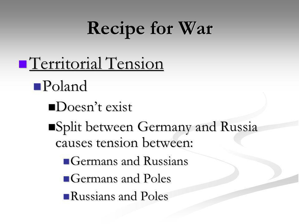 Recipe for War Territorial Tension Territorial Tension Poland Poland Doesnt exist Doesnt exist Split between Germany and Russia causes tension between