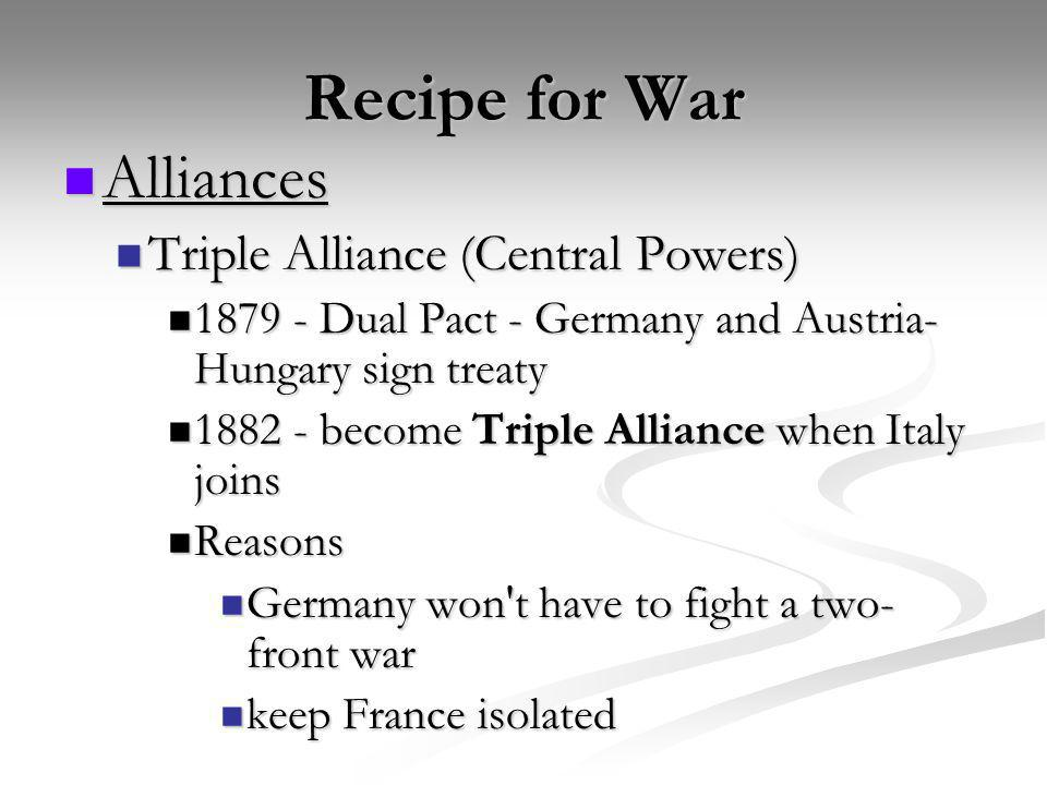 Recipe for War Alliances Alliances Triple Alliance (Central Powers) Triple Alliance (Central Powers) 1879 - Dual Pact - Germany and Austria- Hungary s