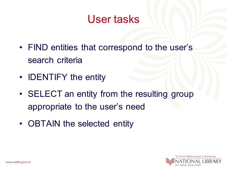 User tasks FIND entities that correspond to the users search criteria IDENTIFY the entity SELECT an entity from the resulting group appropriate to the users need OBTAIN the selected entity