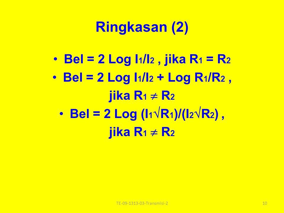 Ringkasan (1) Bel = Log P 1 /P 2 Bel = 2 Log V 1 /V 2, jika R1 R1 = R2R2 Bel = 2 Log V 1 /V 2 + Log R 2 /R 1, jika R1 R1 R2R2 Bel = 2 Log(V 1 R 2 )/V 2 R 1 ), jika R1 R1 R2R2 9TE-09-1313-03-Transmisi-2