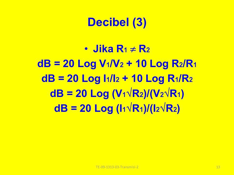 Decibel (2) Decibel ( dB) = 10 x Bel dB = 10 Log P 1 /P 2 Jika R1 R1 = R2R2 dB = 20 Log V 1 /V 2 dB = 20 Log I 1 /I 2 12TE-09-1313-03-Transmisi-2
