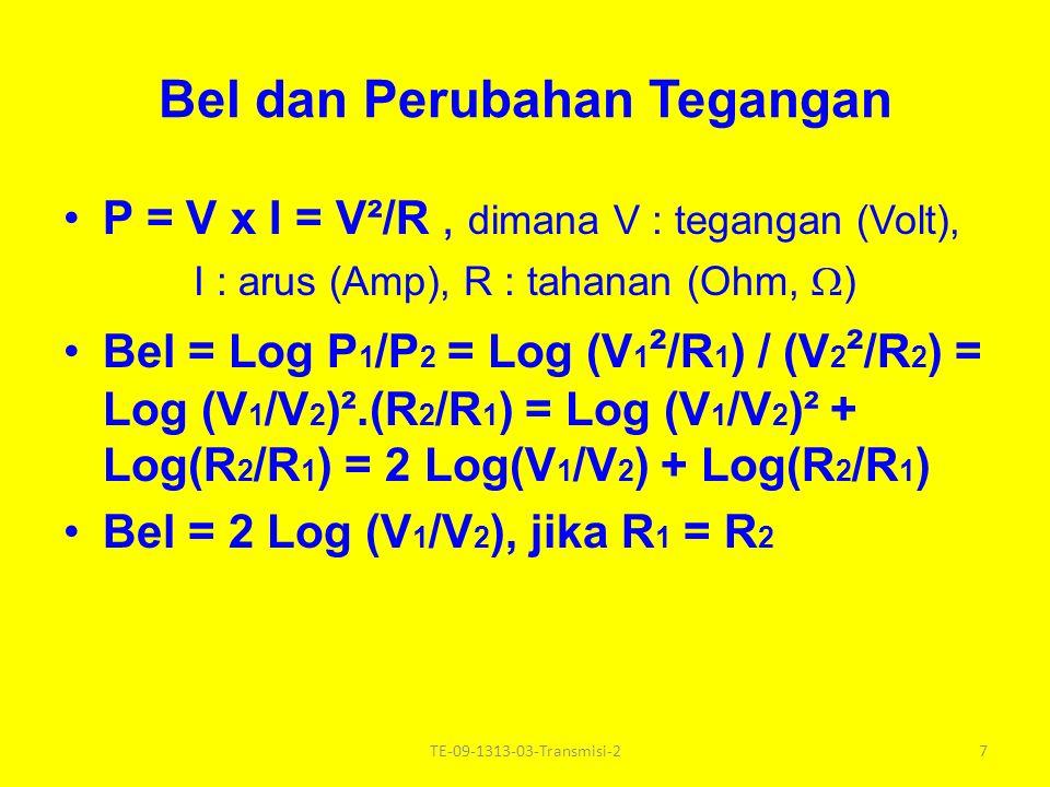 Daya, Tegangan dan Arus Daya = Tegangan x Arus Satuan : Daya : Watt, Tegangan : Volt, Arus : Ampere (Amp) P = V x I V = I x R dimana R : tahanan, Ohm ( ) 6TE-09-1313-03-Transmisi-2