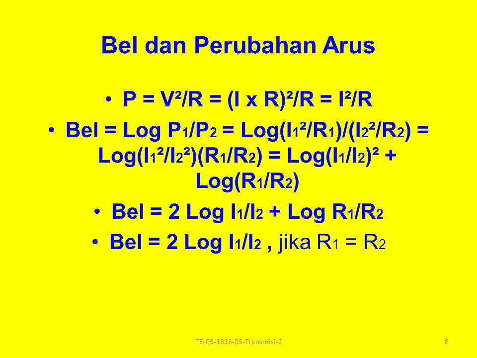 Bel dan Perubahan Tegangan P = V x I = V²/R, dimana V : tegangan (Volt), I : arus (Amp), R : tahanan (Ohm, ) Bel = Log P 1 /P 2 = Log (V 1 ² /R 1 ) / (V 2 ² /R 2 ) = Log (V 1 /V 2 )².(R 2 /R 1 ) = Log (V 1 /V 2 )² + Log(R 2 /R 1 ) = 2 Log(V 1 /V 2 ) + Log(R 2 /R 1 ) Bel = 2 Log (V 1 /V 2 ), jika R1 R1 = R2R2 7TE-09-1313-03-Transmisi-2