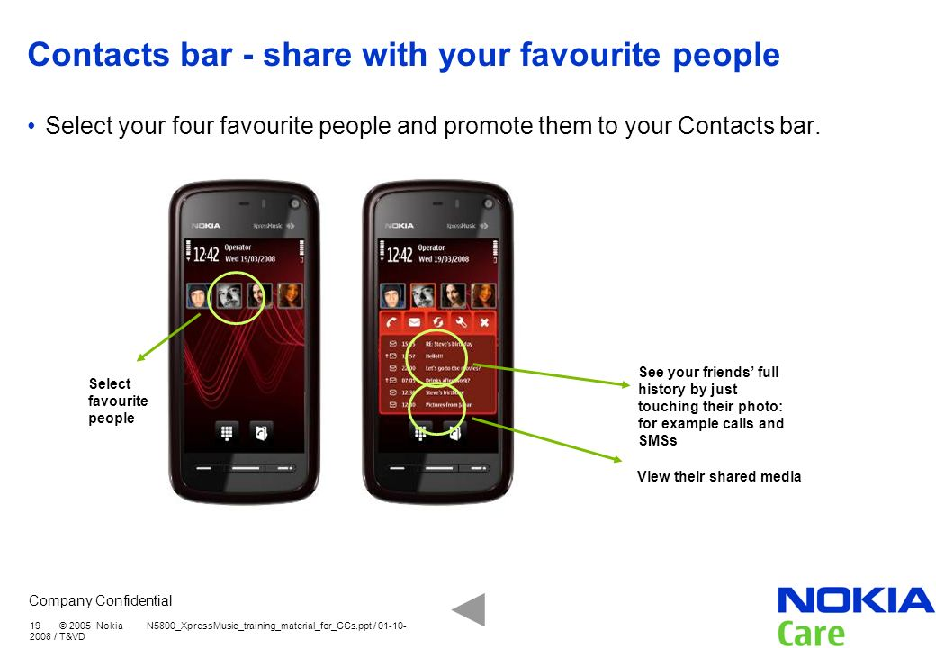 Company Confidential 19 © 2005 Nokia N5800_XpressMusic_training_material_for_CCs.ppt / 01-10- 2008 / T&VD Contacts bar - share with your favourite peo
