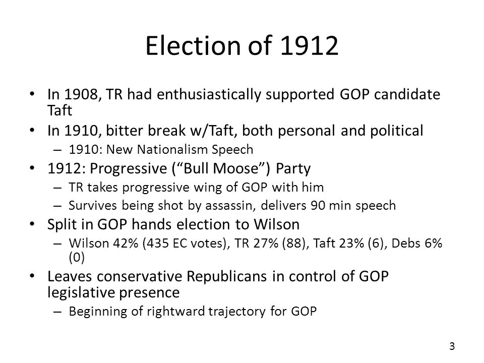 Election of 1912 In 1908, TR had enthusiastically supported GOP candidate Taft In 1910, bitter break w/Taft, both personal and political – 1910: New N