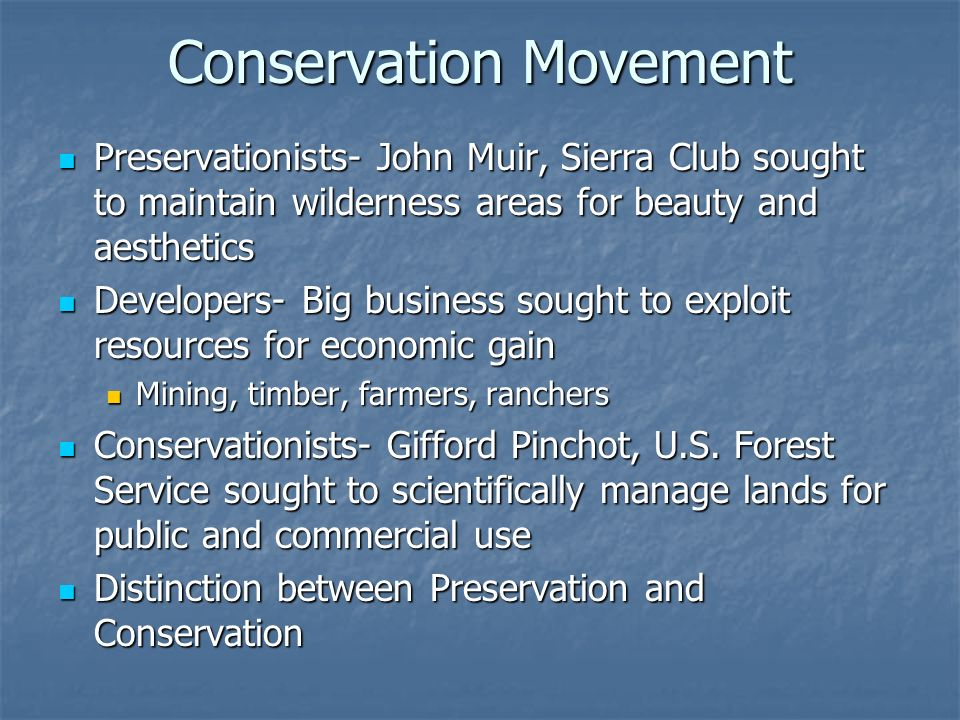 Conservation Movement Preservationists- John Muir, Sierra Club sought to maintain wilderness areas for beauty and aesthetics Preservationists- John Mu