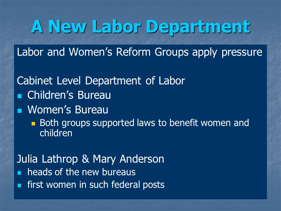 A New Labor Department Labor and Womens Reform Groups apply pressure Cabinet Level Department of Labor Childrens Bureau Womens Bureau Both groups supp