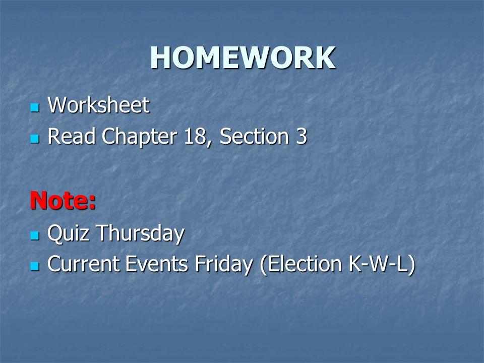 HOMEWORK Worksheet Worksheet Read Chapter 18, Section 3 Read Chapter 18, Section 3Note: Quiz Thursday Quiz Thursday Current Events Friday (Election K-