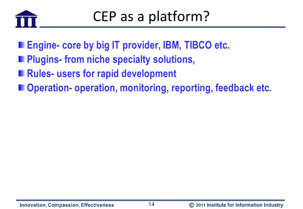 CEP as a platform? 14 Engine- core by big IT provider, IBM, TIBCO etc. Plugins- from niche specialty solutions, Rules- users for rapid development Ope
