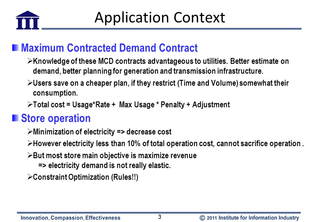 Application Context 3 Maximum Contracted Demand Contract Knowledge of these MCD contracts advantageous to utilities. Better estimate on demand, better