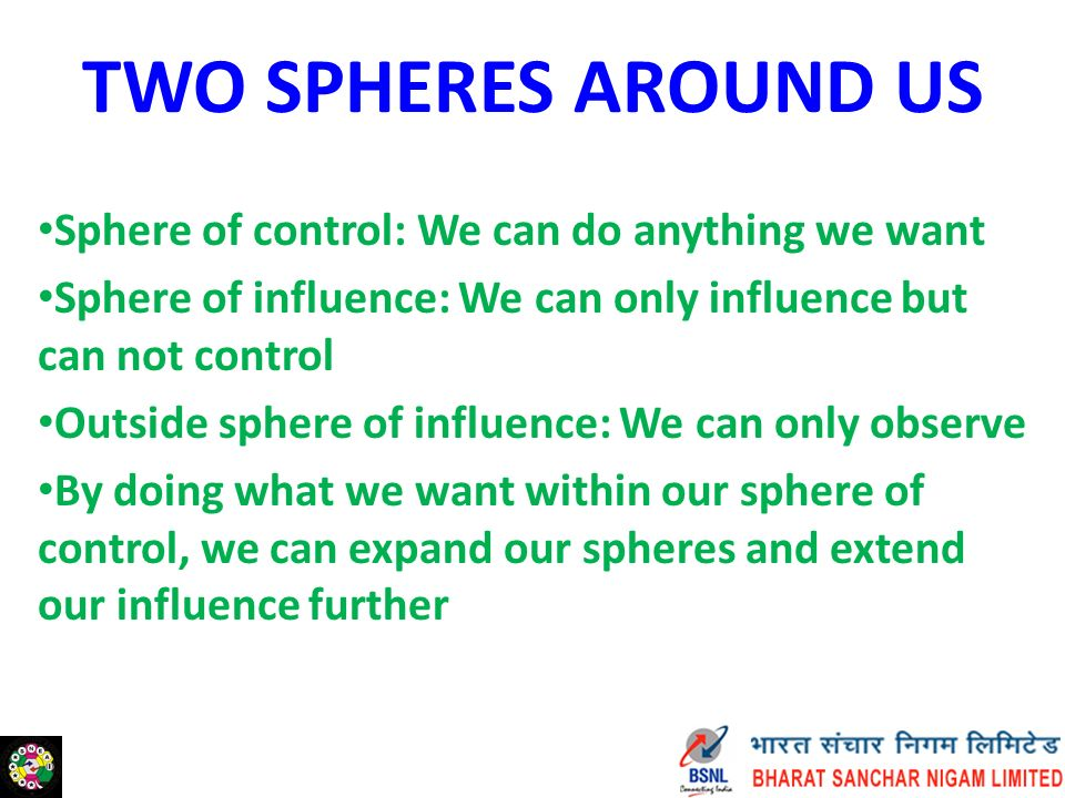 TWO SPHERES AROUND US Sphere of control: We can do anything we want Sphere of influence: We can only influence but can not control Outside sphere of influence: We can only observe By doing what we want within our sphere of control, we can expand our spheres and extend our influence further