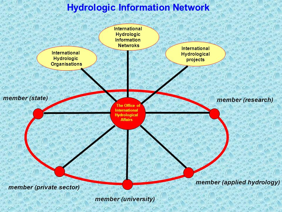 International Hydrologic Organisations Hydrologic Information Network International Hydrological projects International Hydrologic Information Netwroks member (research) member (state) member (private sector) member (applied hydrology) member (university) The Office of International Hydrological Affairs