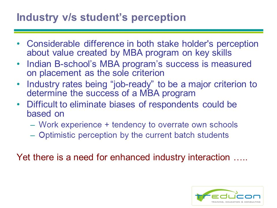Industry v/s students perception Considerable difference in both stake holder s perception about value created by MBA program on key skills Indian B-schools MBA programs success is measured on placement as the sole criterion Industry rates being job-ready to be a major criterion to determine the success of a MBA program Difficult to eliminate biases of respondents could be based on –Work experience + tendency to overrate own schools –Optimistic perception by the current batch students Yet there is a need for enhanced industry interaction …..