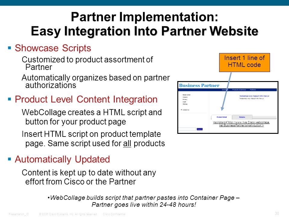 © 2006 Cisco Systems, Inc. All rights reserved.Cisco ConfidentialPresentation_ID 30 Integration Into Partner Website Partner Implementation: Easy Inte