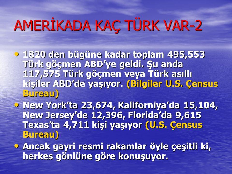 AMERİKADAKİ TÜRKLERİN YAPISI Anadolu Türkleri (Amerikada kaç Türk var) Anadolu Türkleri (Amerikada kaç Türk var) Kıbrıs Türkleri (1930 sonrasi – En iy