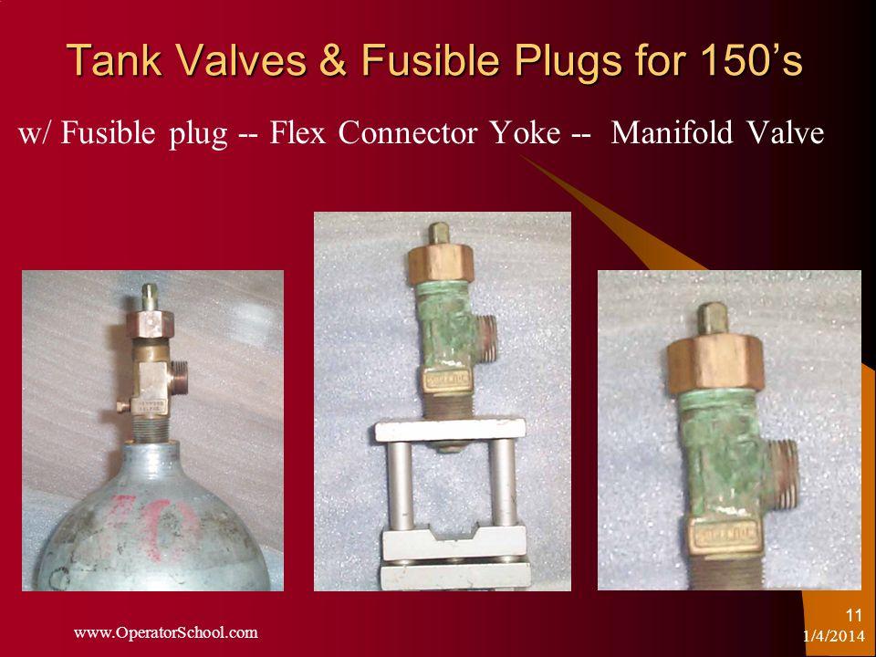 1/4/2014 www.OperatorSchool.com 11 Tank Valves & Fusible Plugs for 150s w/ Fusible plug -- Flex Connector Yoke -- Manifold Valve