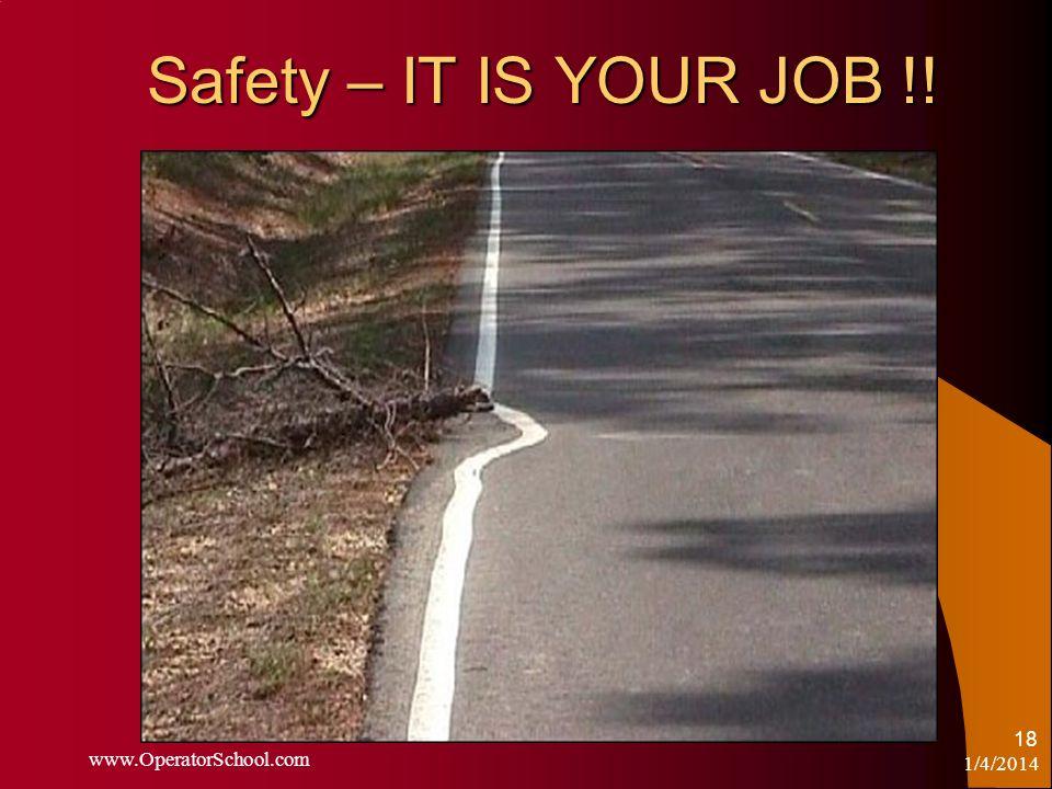 Safety – IT IS YOUR JOB !! 1/4/2014 www.OperatorSchool.com 18