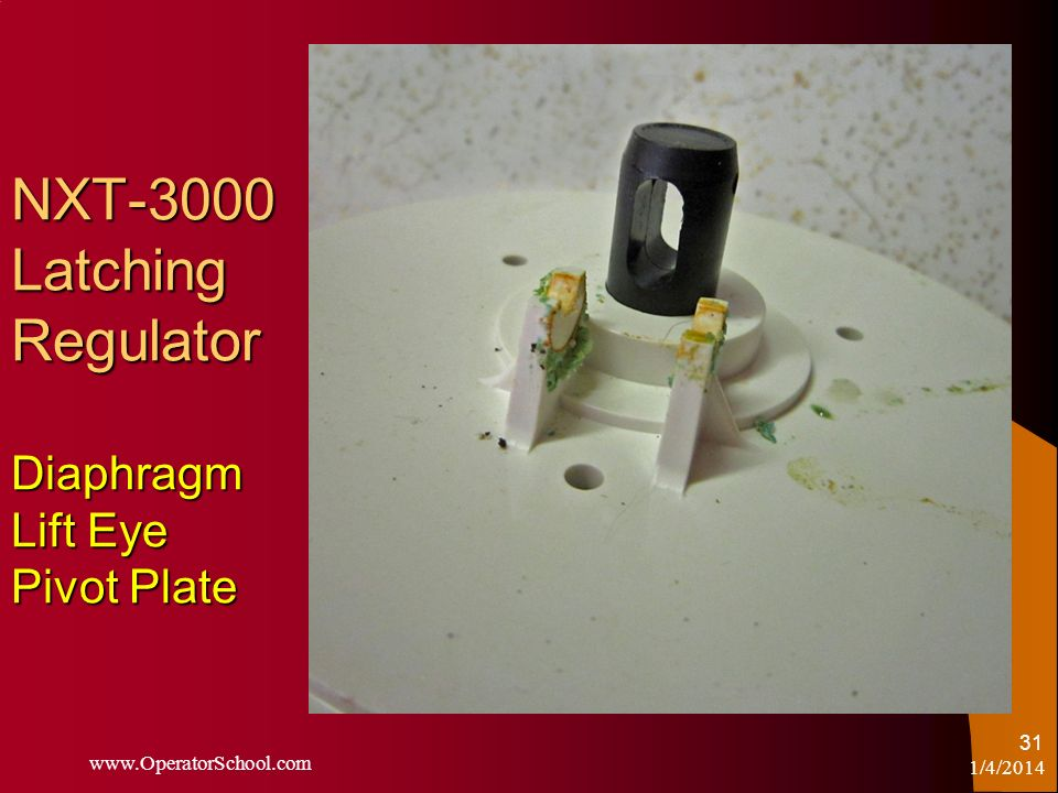 NXT-3000 Latching Regulator Diaphragm Lift Eye Pivot Plate 1/4/2014 www.OperatorSchool.com 31