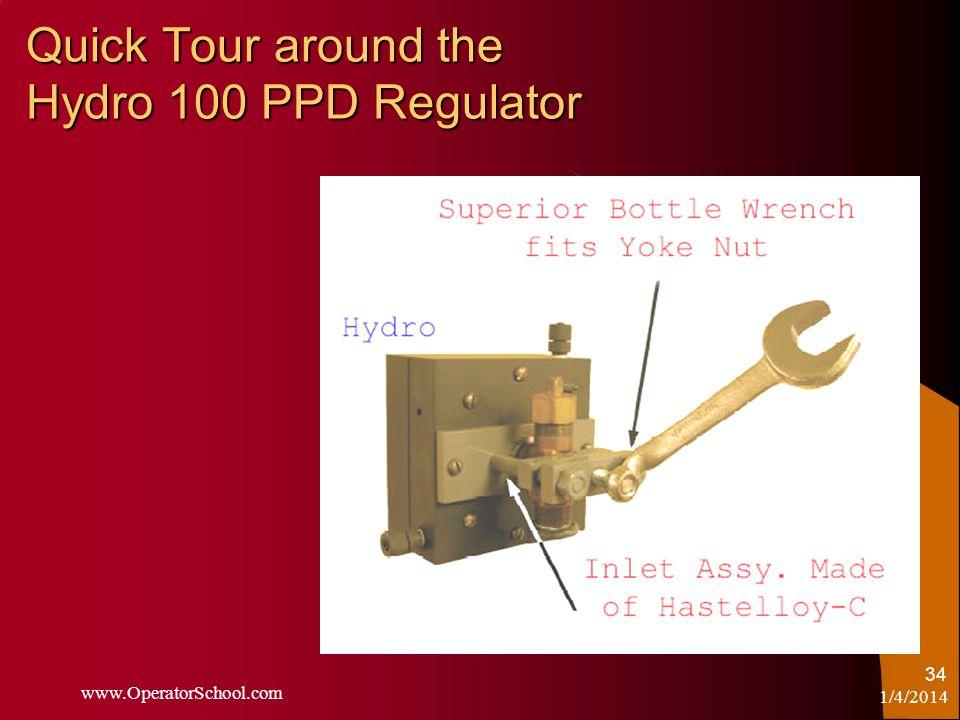 1/4/2014 www.OperatorSchool.com 34 Quick Tour around the Hydro 100 PPD Regulator