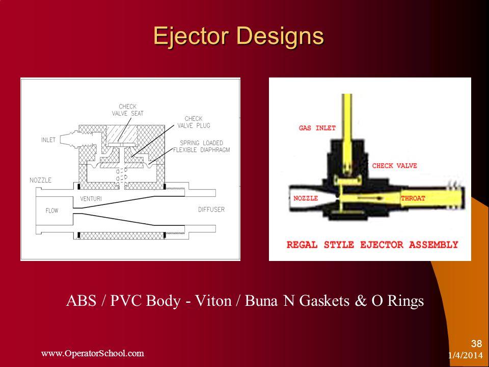 1/4/2014 www.OperatorSchool.com 38 Ejector Designs ABS / PVC Body - Viton / Buna N Gaskets & O Rings