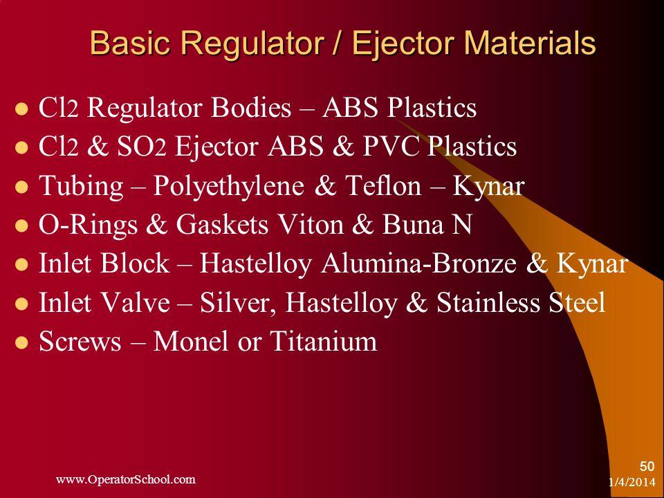 Basic Regulator / Ejector Materials Cl 2 Regulator Bodies – ABS Plastics Cl 2 & SO 2 Ejector ABS & PVC Plastics Tubing – Polyethylene & Teflon – Kynar