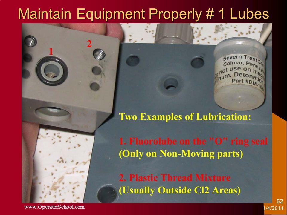 Maintain Equipment Properly # 1 Lubes 1/4/2014 www.OperatorSchool.com 52