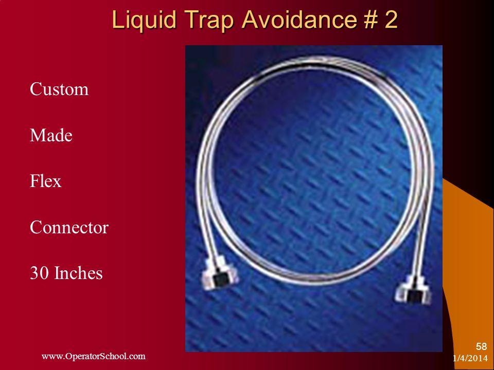 Liquid Trap Avoidance # 2 1/4/2014 www.OperatorSchool.com 58 Custom Made Flex Connector 30 Inches