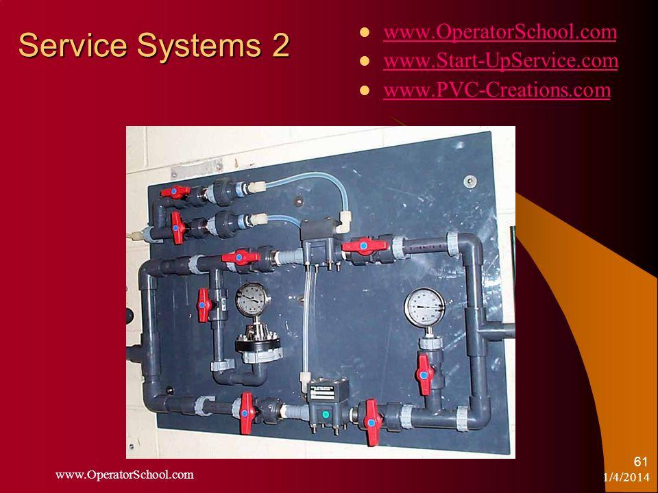 1/4/2014 www.OperatorSchool.com 61 Service Systems 2 www.OperatorSchool.com www.Start-UpService.com www.PVC-Creations.com