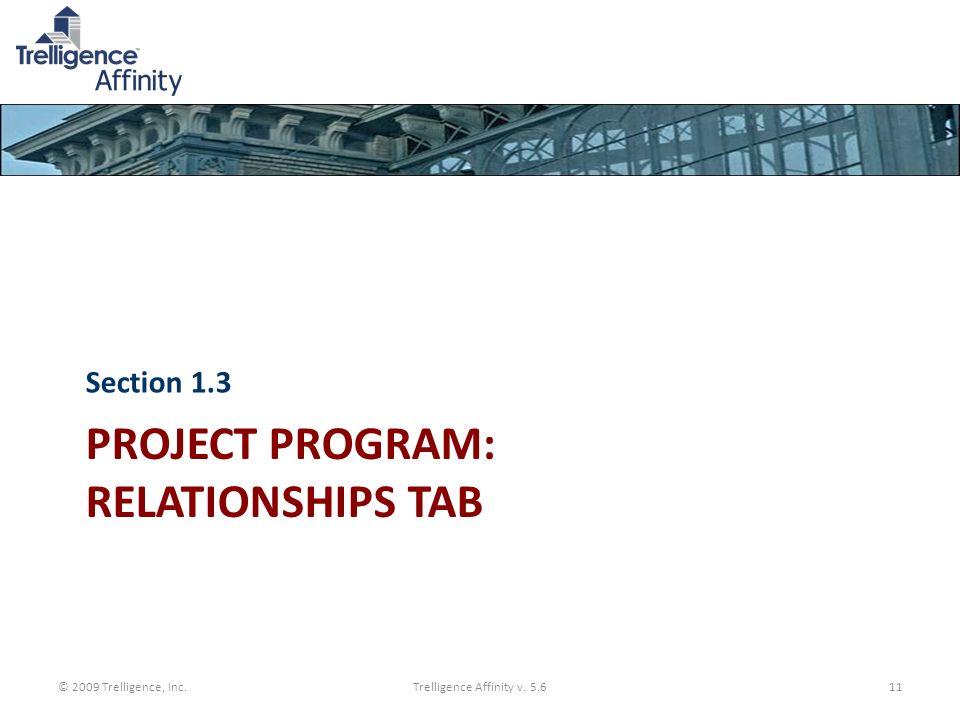 PROJECT PROGRAM: RELATIONSHIPS TAB Section 1.3 © 2009 Trelligence, Inc.Trelligence Affinity v. 5.611