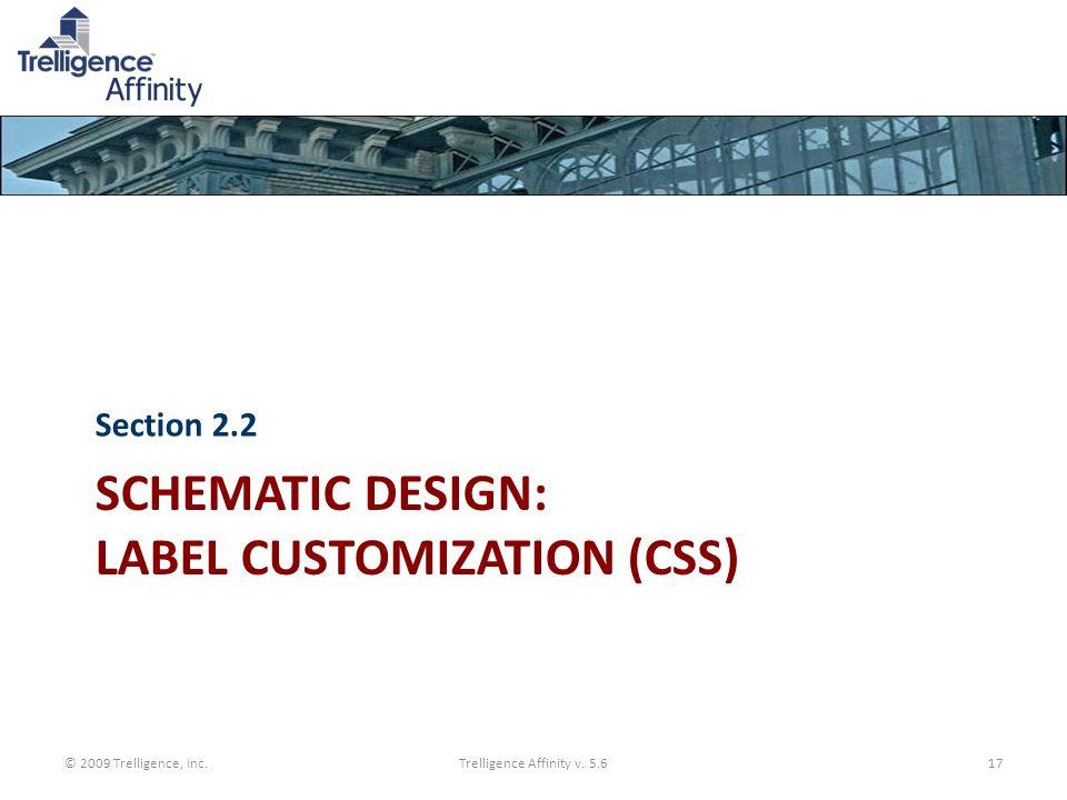 SCHEMATIC DESIGN: LABEL CUSTOMIZATION (CSS) Section 2.2 © 2009 Trelligence, Inc.Trelligence Affinity v. 5.617